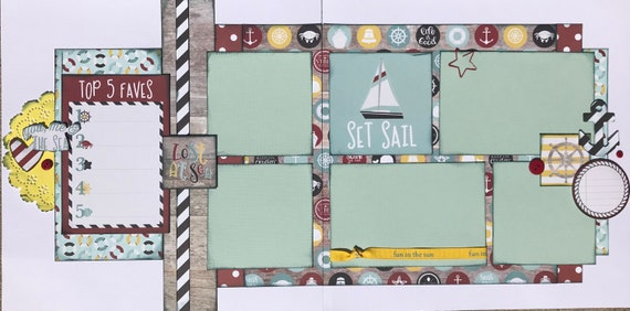 Lost at Sea - Set Sail 2 page scrapbooking layout Kit or Premade Scrapbooking Pages