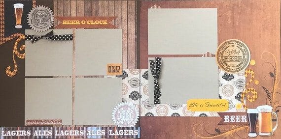 Beer'O'Clock 2 Page Scrapbooking Layout Kit or Premade Scrapbooking Pages