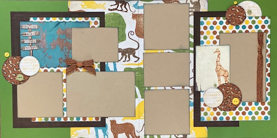 Zoo - Elephants, Tigers, Gorillas, Giraffes 2 Page Scrapbooking Layout Kit or Premade Pages