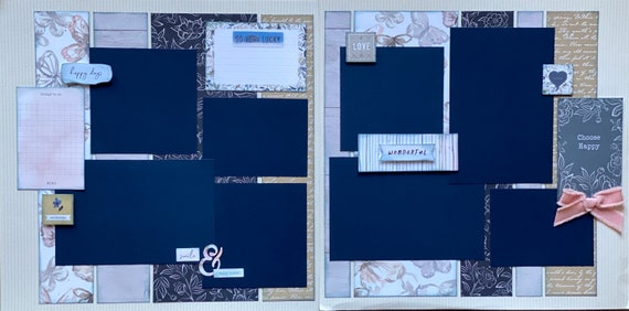 Choose Happy - Happy Days 2 Page Scrapbooking Layout Kit or Premade Scrapbooking Pages