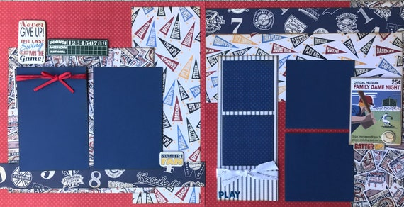 Never Give Up!  The Last Swing Could Win the Game - Baseball 2 Page Scrapbooking Layout Kit or Premade Pages