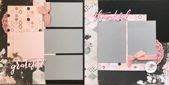 Grateful and Thankful  2 Page Scrapbooking Layout Kit or Pre Made Scrapbooking Pages