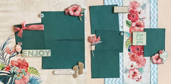 Enjoy - Tropical Adventure 2 Page Scrapbooking Layout Kit or Premade Scrapbooking Pages