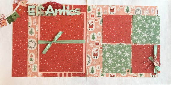 Elf Antics - Christmas 2 page Scrapbooking Layout Kit or Premade Scrapbooking Pages
