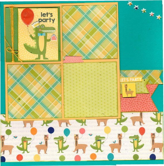 Let's Party!  Llama  , 2 Page Scrapbooking layout KIt