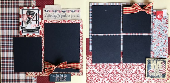 Fourth of July - Home of the Brave / We the People 2 Page Scrapbooking Layout Kit or Pre Made Pages