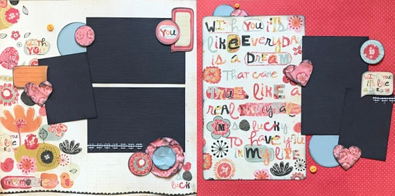 With You, It's Like a Dream 2 page Scrapbooking Layout Kit or Scrapbooking Premade Pages