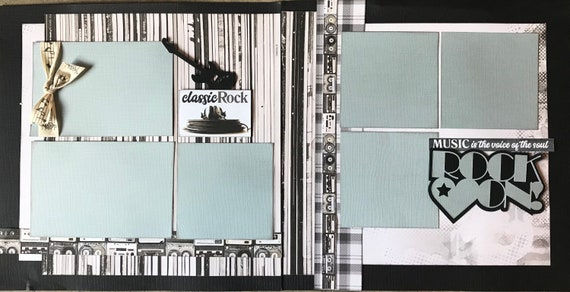 Rock On! Classic Rock 2 Page Scrapbooking Layout Kit or Premade Scrapbooking Pages