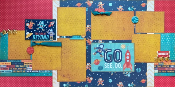 The Great Beyond - GO.  SEE.  DO.   2 Page Scrapbooking Layout Kit or Premade Scrapbooking Pages