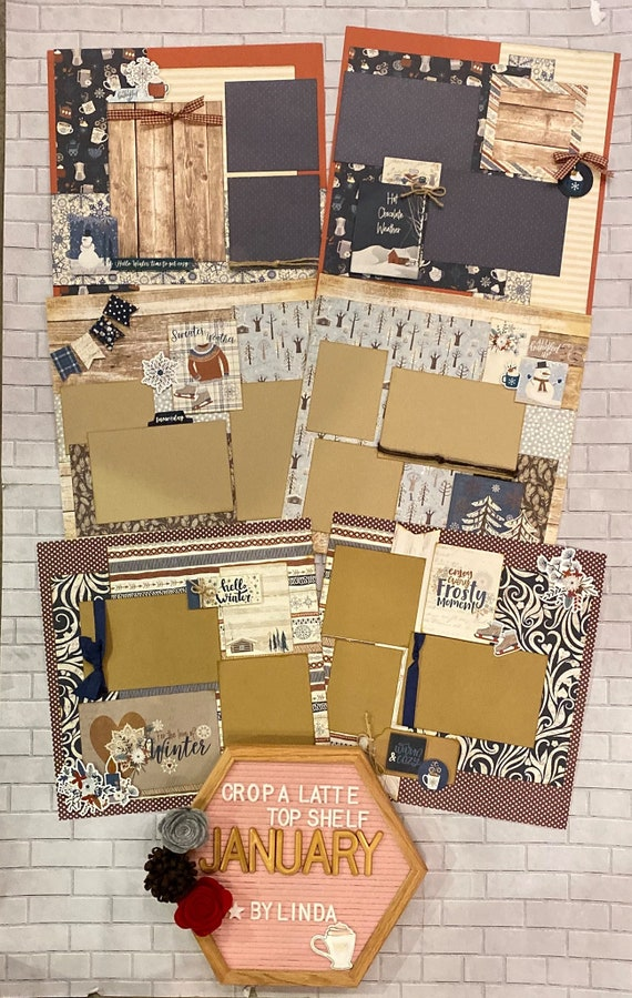 Top Shelf Kit Club January - 3 - 2 Page Scrapbooking Layout Kits -Photoplay - For the Love of Winter