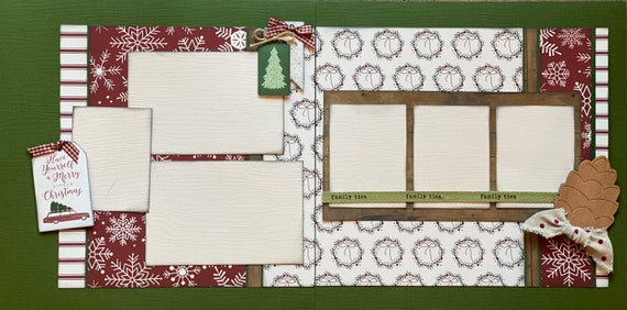Have Yourself a Merry Little Christmas 2 Page Scrapbooking Layout Kit or Premade Scrapbooking Pages