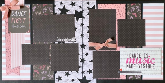 Dance First - Think Later - Dance is Music Made Visible 2 page scrapbooking layout kit or Premade Scrapbooking Pages