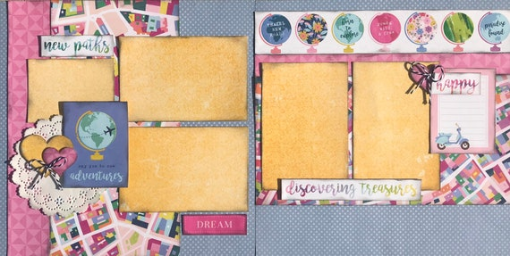 Say Yes to New Adventures - New Paths - Discovering Treasures 2 Page Scrapbooking layout Kit or Premade Scrapbooking Pages