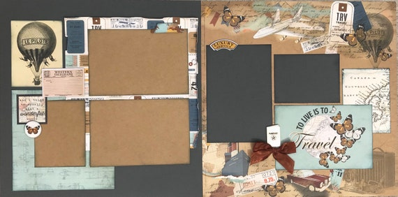 And I Think to Myself What a Beautiful World - Travel 2 page Scrapbooking layout kit or Premade Scrapbooking Pages