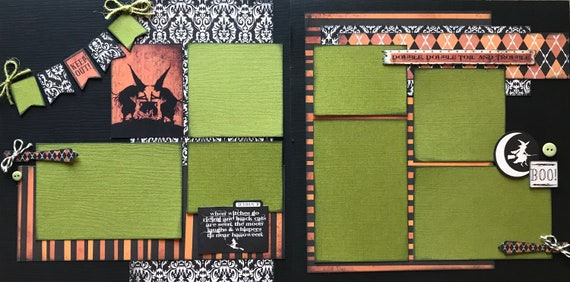 Double Double Toil and Trouble - Halloween 2 Page Scrapbooking Layout Kit or Premade Scrapbooking Pages