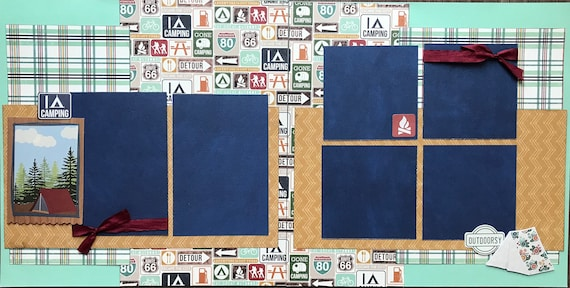 I Love Camping 2 Page Scrapbooking Layout Kit or Premade Scrapbooking Pages
