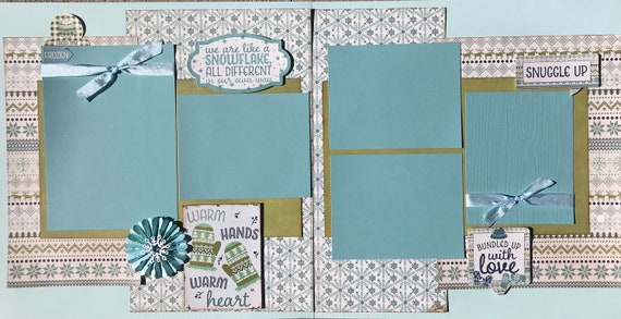 We Are Like a Snowflake, All Different in our own Way - Warm Hands, Warm Heart 2 Page Scrapbooking Layout Kit or Premade Pages