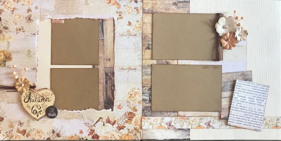 Autumn is Love, Give Thanks 2 Page Scrapbooking Layout Kit or Pre Made Scrapbooking Pages