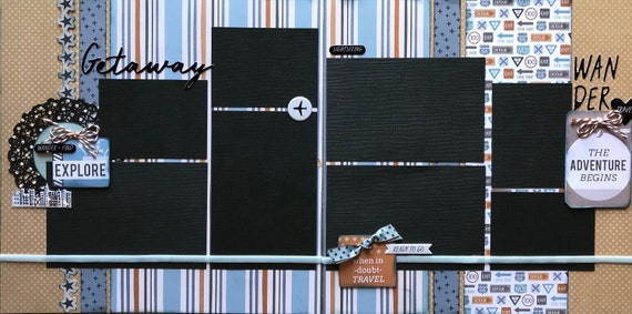 Getaway - The Adventure Begins 2 page Scrapbooking layout kit or Premade Scrapbooking Pages