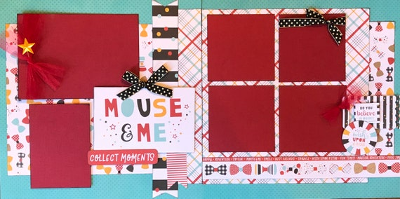 Mouse and Me - Collect Moments - Disney Inspired 2 page Scrapbooking layout Kit or Premade Scrapbooking Pages