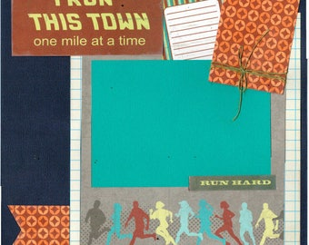 I Run This Town - One Mile at a Time, 2 Page Scrapbooking Layout 5K, 10K, 1/2 Marathon and Full Marathon add-ons included