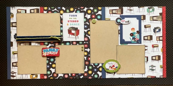 Turn on the Stereo and Dance - Family Fun Night 2 page scrapbooking layout Kit or Premade Scrapbooking Pages