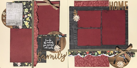 Our Forever Home - Live for the Moments you Can't put into Words - Family 2 Page Scrapbooking Layout Kit or Premade Scrapbooking Pages