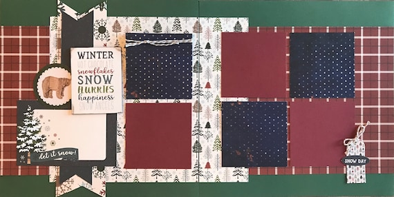 Winter, Hot Chocolate, Snowflakes, Snow Flurries, Happiness ... 2 Page Scrapbooking layout Kit or Premade Scrapbooking Pages