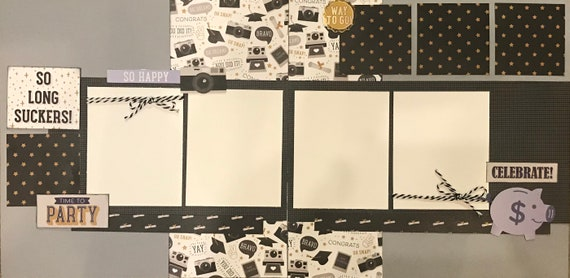 So Long Suckers!  Grad Party 2 page scrapbooking kit or Premade Scrapbooking Pages