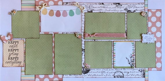 Happy Easter, Happy Spring, Happy Everything! 2 Page Scrapbooking Layout Kit or Premade Scrapbooking Pages