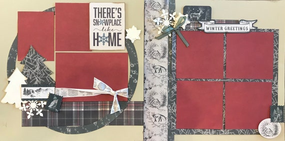 There's Snowplace Like Home 2 page Scrapbooking Layout Kit or Premade Scrapbooking Pages