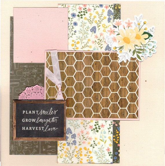Plant Smiles, Grow Laughter, Harvest Love 2 Page Scrapbooking Layout Kit Gardening