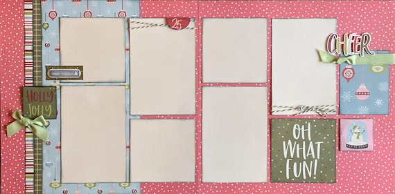 Holly Jolly - Cheer / Oh What Fun! 2 Page Scrapbooking Layout Kit or Premade Scrapbooking Pages