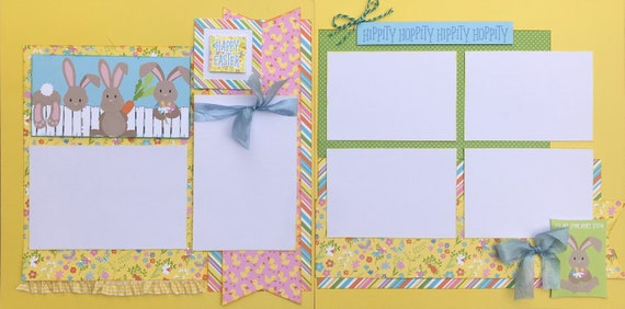 Happy Easter - Hippity Hoppity Hippity Hoppity 2 Page Scrapbooking Layout Kit or Premade Scrapbooking Pages
