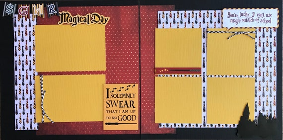 I Do Solemnly Swear I'm Up to No Good - You're Lucky I can't use Magic Outside of School 2 Page Scrapbooking Layout Kit or Premade Pages