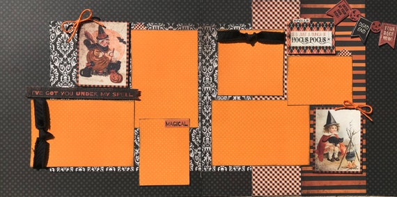 I've Got You Under my Spell - It's Just a Bunch of Hocus Pocus 2 Page Scrapbooking Layout Kit or Premade Scrapbooking Pages