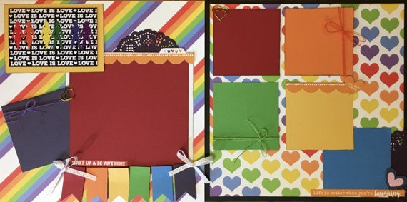 Love is Love LGBTQ+ 2 page Scrapbooking Layout Kit
