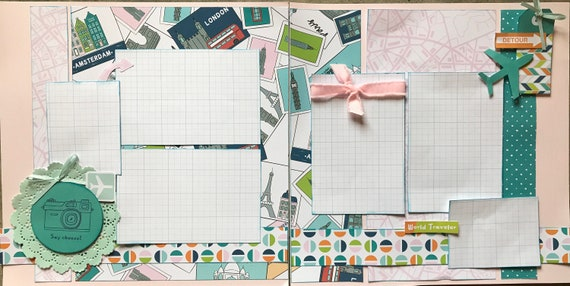 Say Cheese - World Traveler 2 Page Scrapbooking layout Kit or Premade Scrapbooking Pages