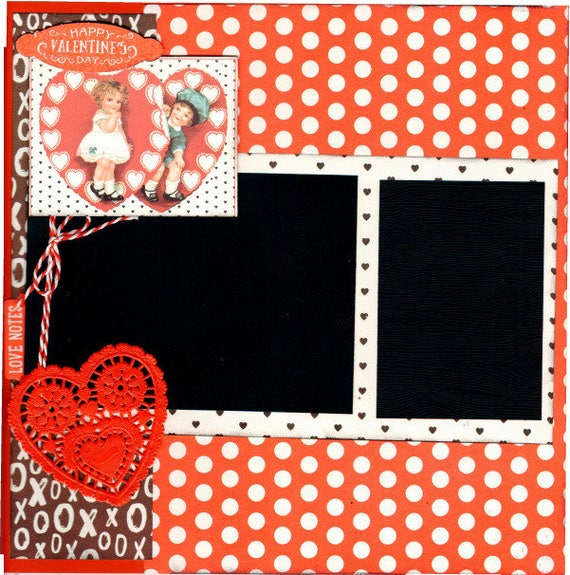 Happy Valentine's Day 2 Page Scrapbooking Layout Kit