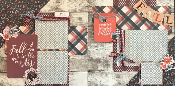 Fall is in the Air 2 Page Scrapbooking Layout Kit or Pre Made Scrapbooking Pages