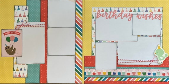 Birthday Wishes - Sloth Happy Birthday 2 Page Scrapbooking layout KIt or Premade Scrapbooking Pages