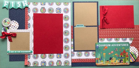 Aquarium Adventures - FISH 2 Page Scrapbooking Layout Kit or Premade Scrapbooking Pages