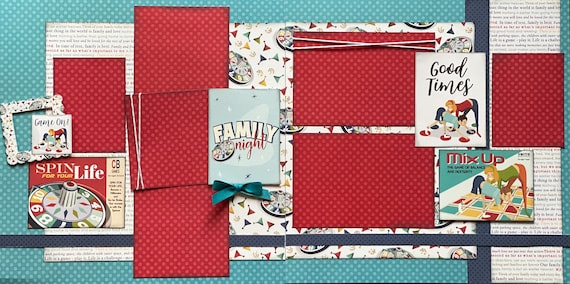 Game On!  Family Night  2 Page Scrapbooking Layout Kit or Premade pages