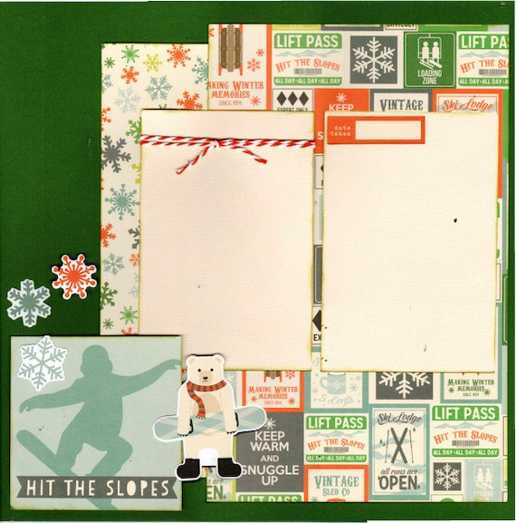 Snowboarding - Hit the Slopes,  2 Page Scrapbooking Layout Kit