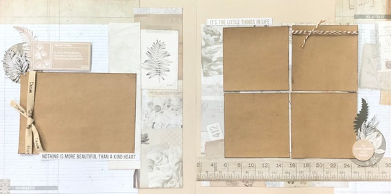 Nothing is More Beautiful Than a Kind Heart  2 page Scrapbooking Layout Kit or Premade Scrapbooking Pages