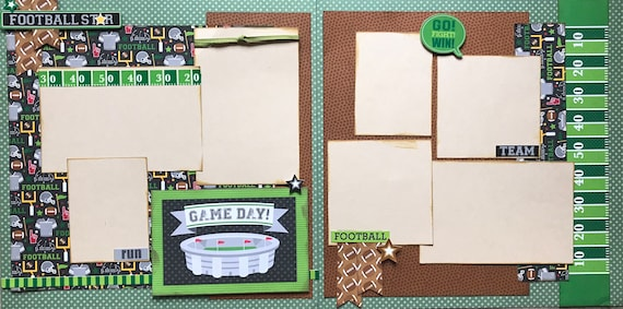 Game Day - Football Star 2 page Scrapbooking Layout Kit or Premade Scrapbooking Pages