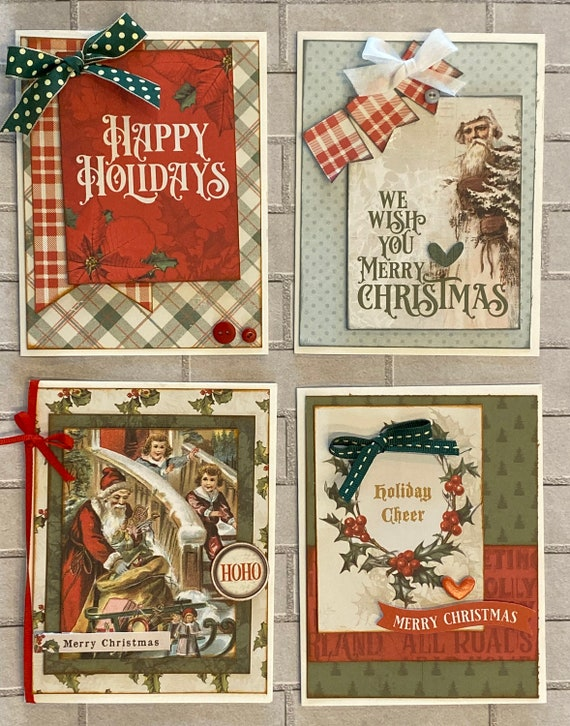 Old Time Christmas Themed Card Kit- 4 pack