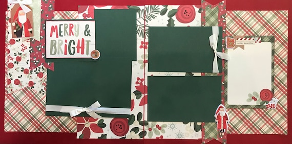 Merry and Bright 2 Page Scrapbooking layout Kit or Premade Scrapbooking Pages