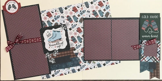 All Bundled Up / Cold Hands Warm Heart - Ice Skating 2 Page Scrapbooking layout Kit or Premade Scrapbooking Pages