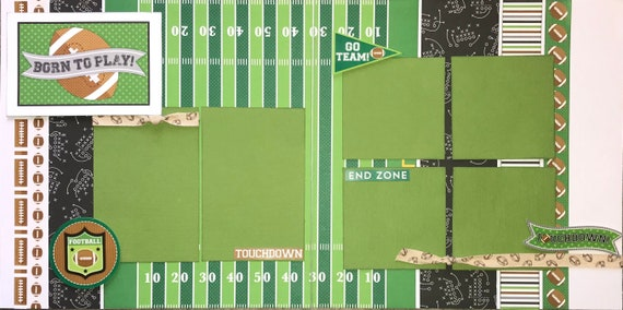 Born to Play Football 2 page Scrapbooking Layout Kit or Premade Scrapbooking Pages